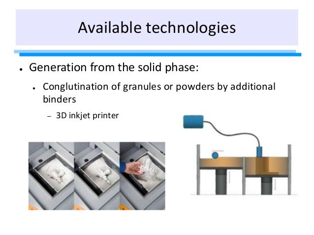 ● Generation from the solid phase: ● Conglutination of granules or powders by additional binders – 3D inkjet printer Avail...