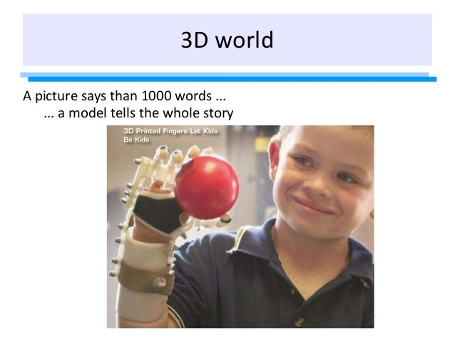 3D world A picture says than 1000 words ... ... a model tells the whole story