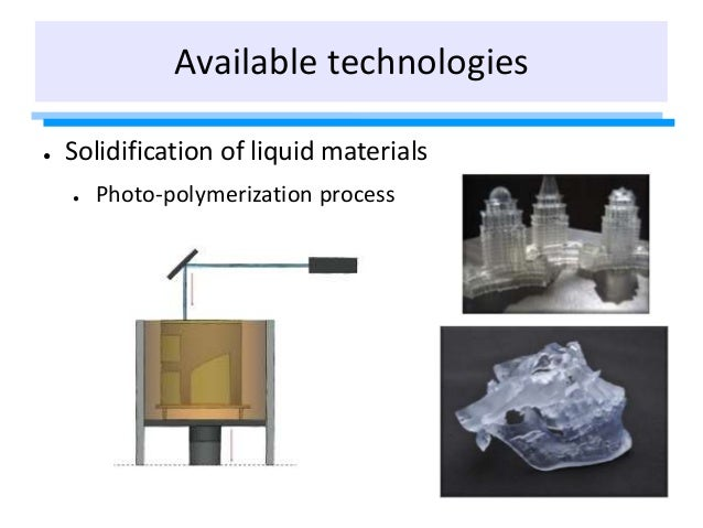 Available technologies ● Solidification of liquid materials ● Photo-polymerization process