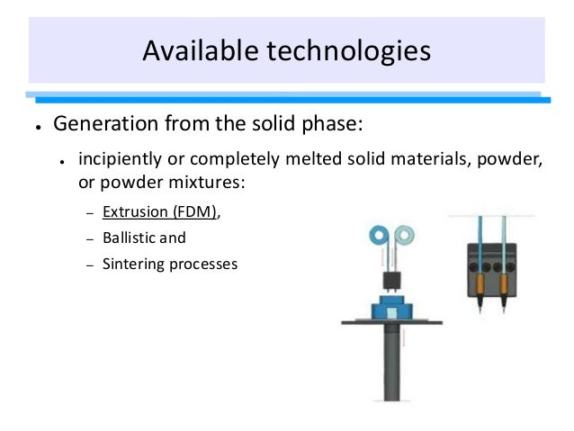 ● Generation from the solid phase: ● incipiently or completely melted solid materials, powder, or powder mixtures: – Extru...