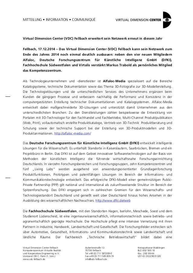 MITTEILUNG • INFORMATION • COMMUNIQUÉ  Virtual Dimension Center (VDC) Fellbach erweitert sein Netzwerk erneut in diesem Ja...