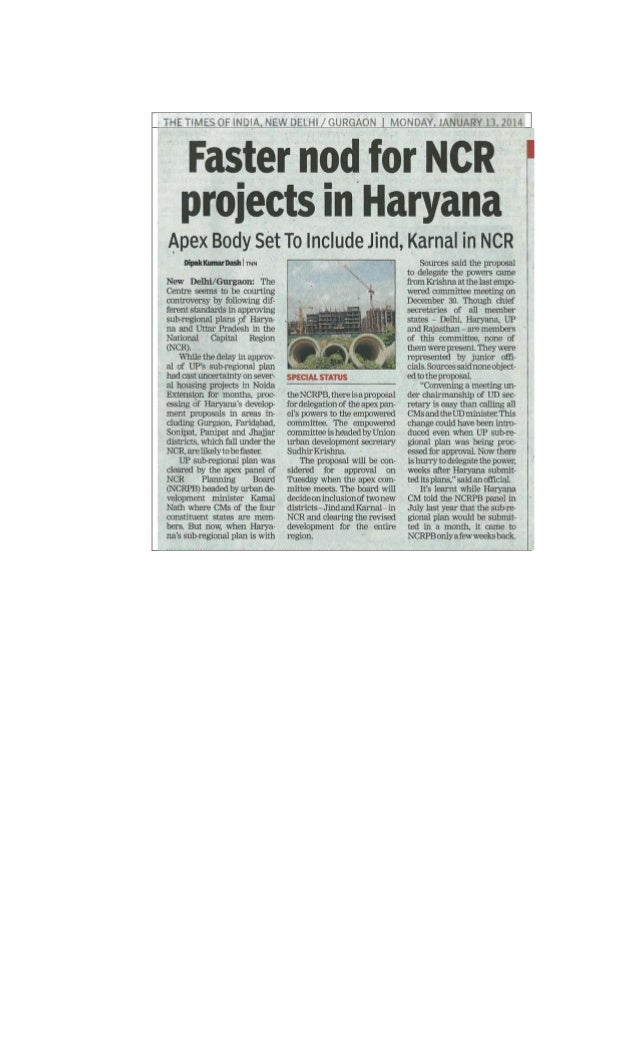 2014.01.13 faster nod for ncr projects in haryana toi