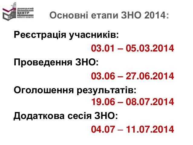 Основні етапи ЗНО 2014: Реєстрація учасників: 03.01 – 05.03.2014 Проведення ЗНО: 03.06 – 27.06.2014 Оголошення результатів...