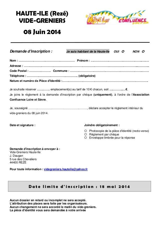Vide greniers 2014 bulletin d 39 inscription for D et co inscription