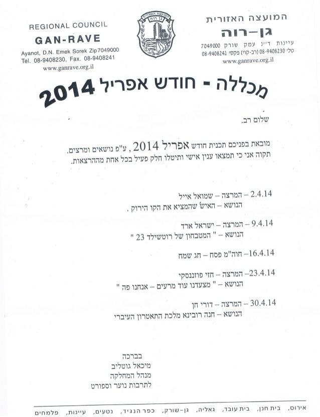 מכללה חודש אפריל 2014