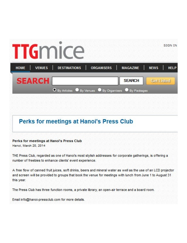 TTG Mice runs the news of the Press Club Hanoi's launching new summer meeting package in their latest issue, March 2014