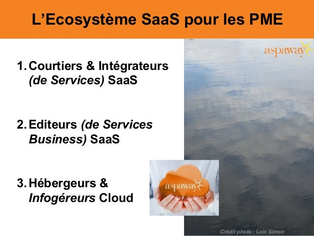L'Ecosystème SaaS pour les PME 1.Courtiers & Intégrateurs (de Services) SaaS 2.Editeurs (de Services Business) SaaS 3.Hébe...