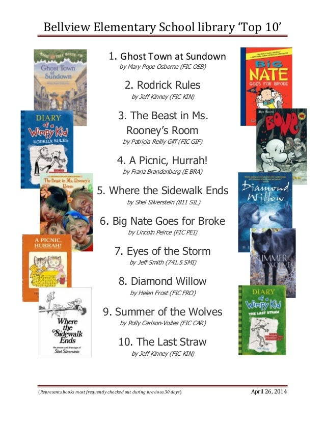Bellview Elementary School library 'Top 10' (Represents books most frequently checked out during previous 30 days) April 2...