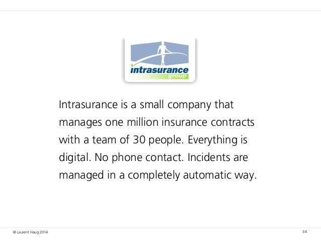 © Laurent Haug 2014 34 Intrasurance is a small company that manages one million insurance contracts with a team of 30 peop...
