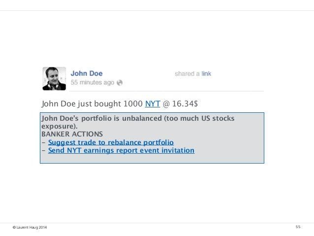 © Laurent Haug 2014 55 John Doe's portfolio is unbalanced (too much US stocks exposure). BANKER ACTIONS - Suggest trade t...