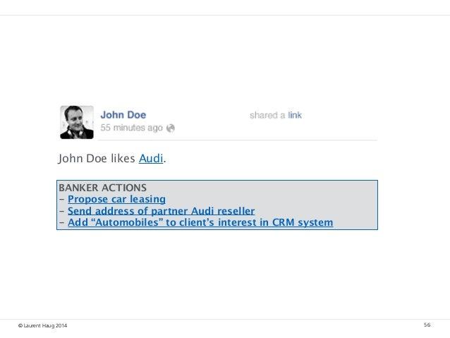 © Laurent Haug 2014 56 John Doe likes Audi. BANKER ACTIONS - Propose car leasing - Send address of partner Audi reseller ...