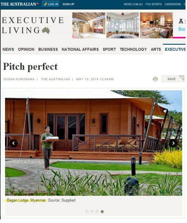 Bagan Lodge and Kamu Lodge are featured in The Australian Magazine for glamping all over the world