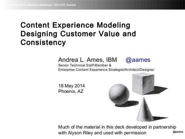 Content Experience Modeling Workshop—2014 STC Summit Content Experience Modeling Designing Customer Value and Consistency ...