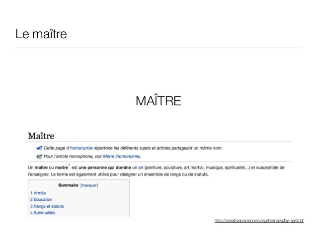 http://creativecommons.org/licenses/by-sa/3.0/ Le maître MAÎTRE