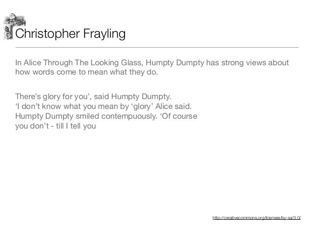 http://creativecommons.org/licenses/by-sa/3.0/ Christopher Frayling In Alice Through The Looking Glass, Humpty Dumpty has ...