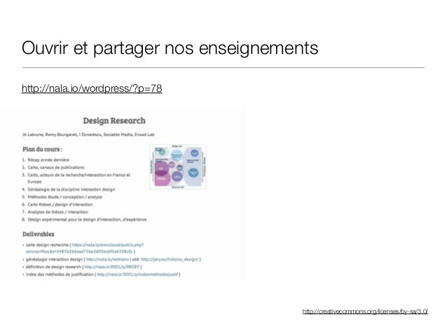 http://creativecommons.org/licenses/by-sa/3.0/ http://nala.io/wordpress/?p=78 Ouvrir et partager nos enseignements