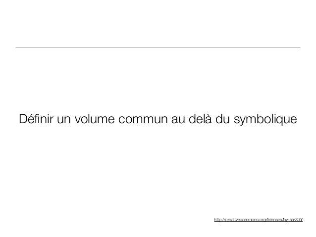 http://creativecommons.org/licenses/by-sa/3.0/ Définir un volume commun au delà du symbolique