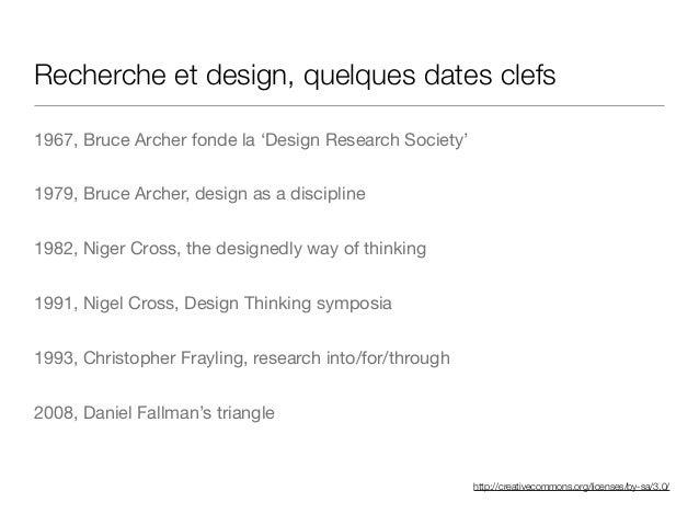 http://creativecommons.org/licenses/by-sa/3.0/ Recherche et design, quelques dates clefs 1967, Bruce Archer fonde la 'Desi...