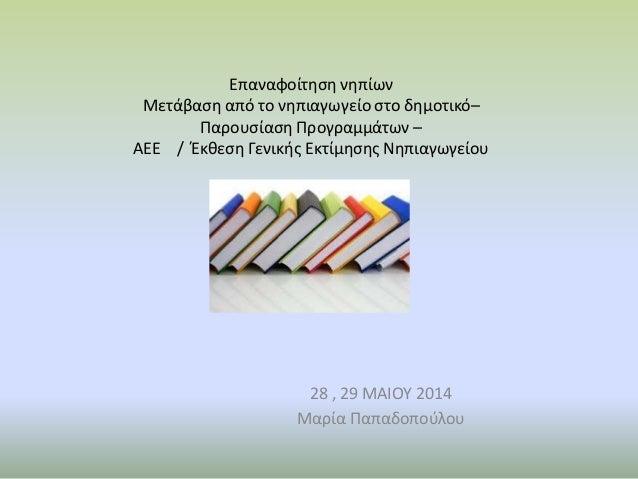 Επαναφοίτηση νηπίων Μετάβαση από το νηπιαγωγείο στο δημοτικό– Παρουσίαση Προγραμμάτων – ΑΕΕ / Έκθεση Γενικής Εκτίμησης Νηπ...