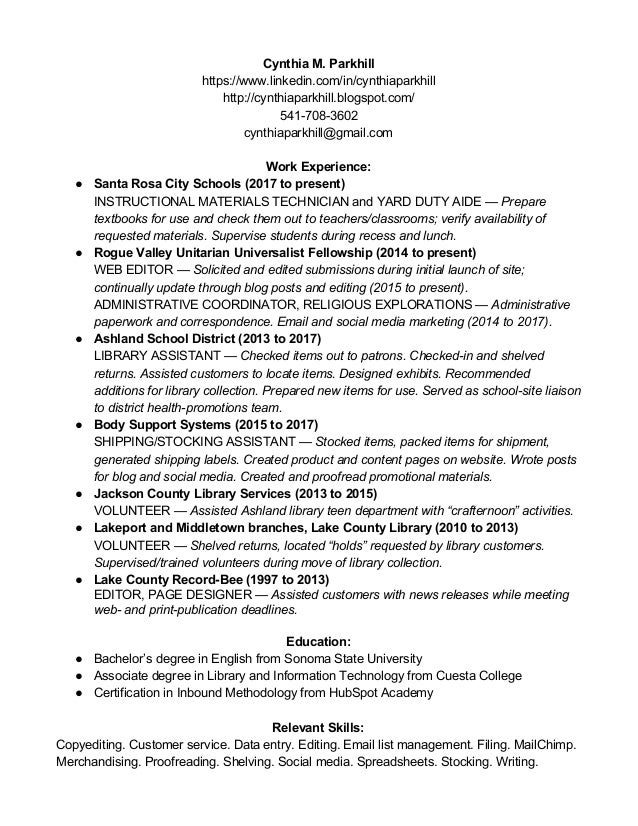 cynthia m parkhill s library resume may 2017