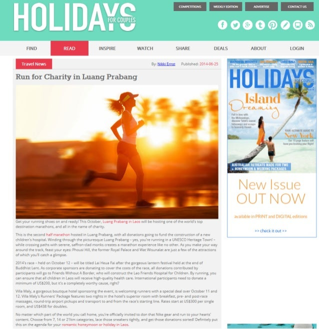 Holidays For Couples picks up the Runners Package of Villa Maly in their Travel News round-up in June 2014