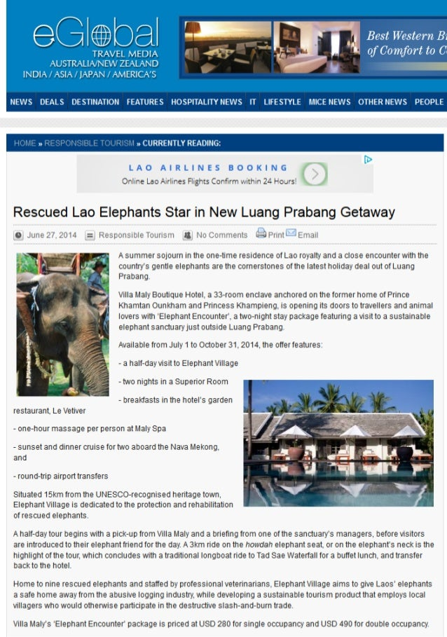 Villa Maly's Elephant Encounter' package was selected by Eglobal Travel Media in their round-up of responsible tourism in ...
