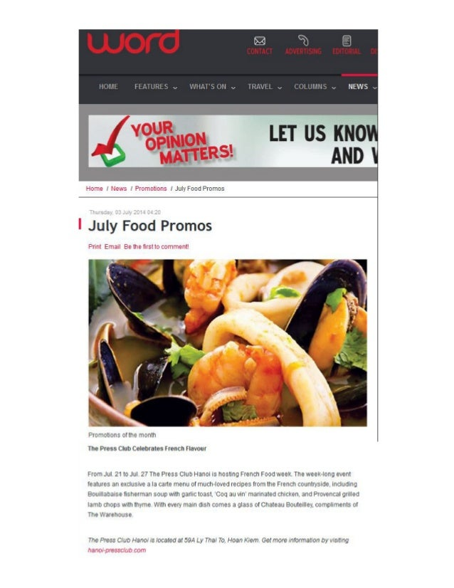 """The Press Club Hanoi's """"The French Connection Week""""  featured in  July Food Promo's round-up of The Word Vietnam, July 2014"""