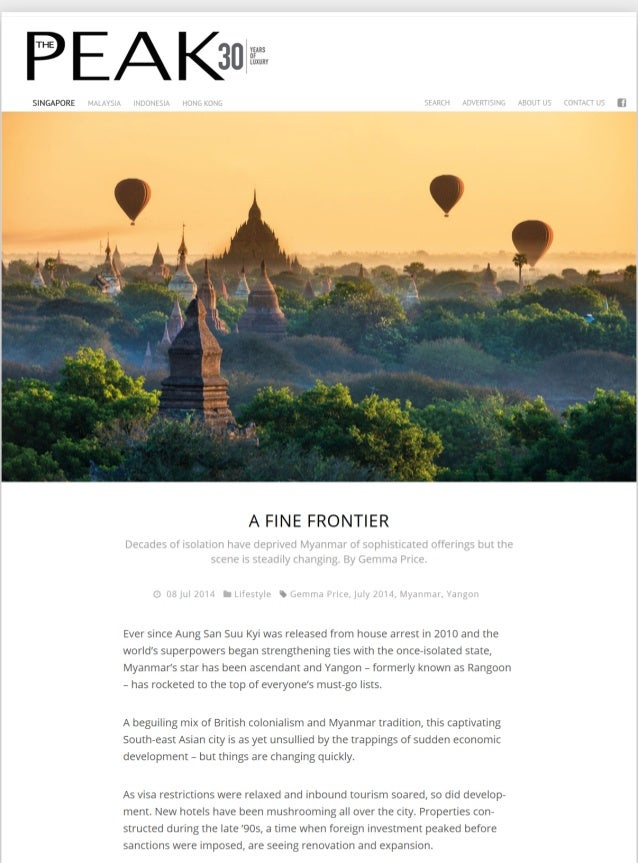 A lovely mention to Bagan Lodge on a special feature about recently built hotels and resorts in Bagan by the Peak Magazine