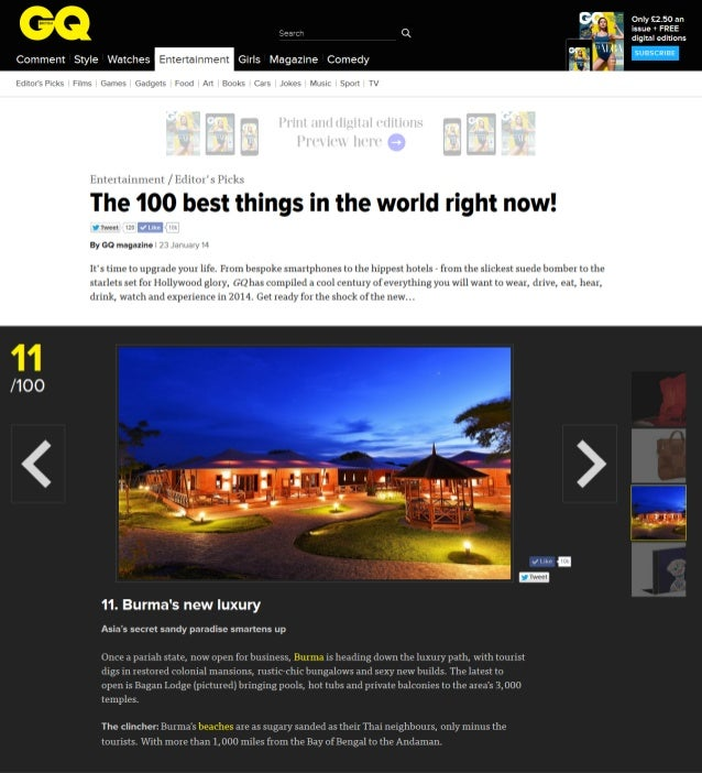 """Bagan Lodge ranked no. 11th in """"The 100 best things in the world right now!"""" by GQ Magazine United Kingdom, January 2014"""