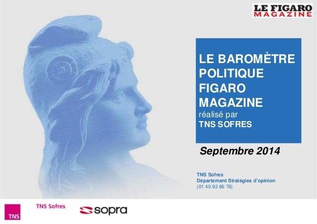 LE BAROMÈTRE  POLITIQUE  FIGARO  MAGAZINE  réalisé par  TNS SOFRES  Septembre 2014  TNS Sofres  Département Stratégies d'o...