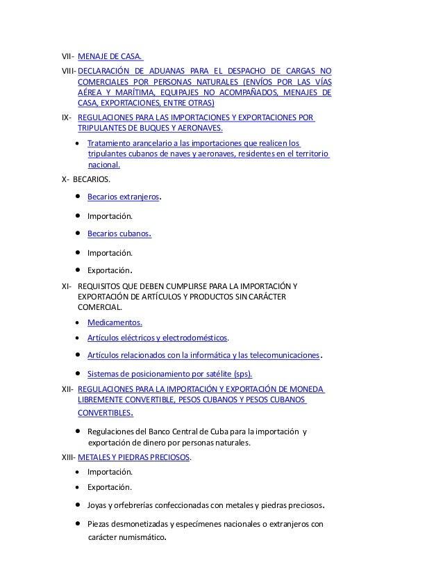 Aduana general de la rep blica cuba 2014 normas for Que es menaje