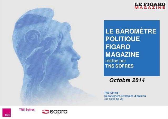 LE BAROMÈTRE  POLITIQUE  FIGARO  MAGAZINE  réalisé par  TNS SOFRES  Octobre 2014  TNS Sofres  Département Stratégies d'opi...