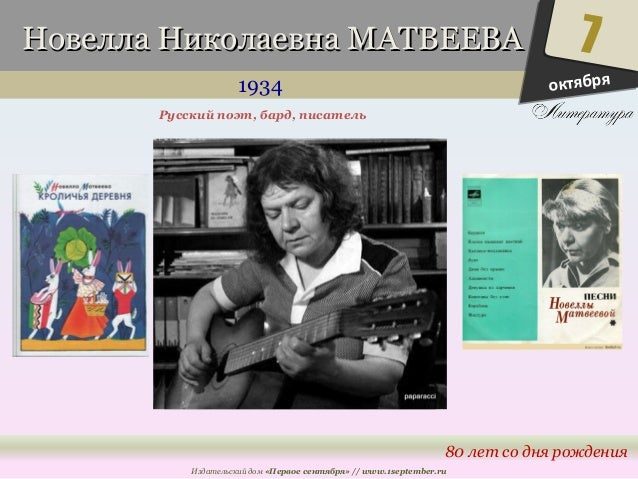 ННооввееллллаа ННииккооллааееввннаа ММААТТВВЕЕЕЕВВАА  1934  7  80 лет со дня рождения  Русский поэт, бард, писатель  Издат...