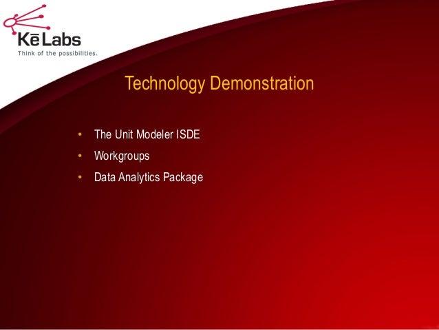 Technology Demonstration  •The Unit Modeler ISDE  •Workgroups  •Data Analytics Package