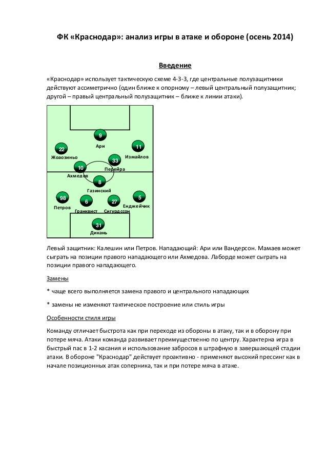 ФК «Краснодар»: анализ игры в атаке и обороне (осень 2014)  Введение  «Краснодар» использует тактическую схеме 4-3-3, где ...