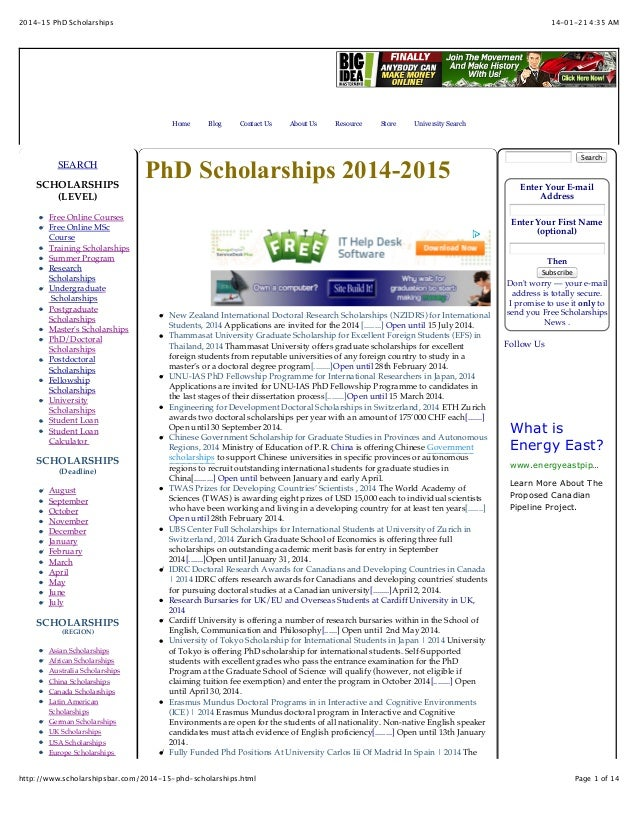 2014-15 PhD Scholarships  14-01-21 4:35 AM  Home  SEARCH SCHOLARSHIPS (LEVEL) Free Online Courses Free Online MSc Course T...