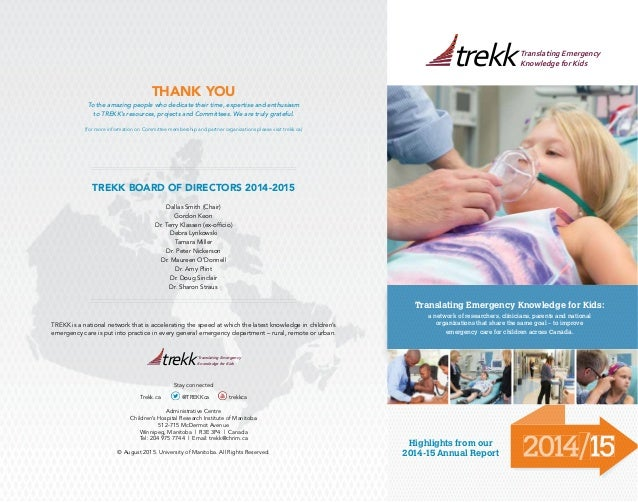 2014/15 Translating Emergency Knowledge for Kids: a network of researchers, clinicians, parents and national organizations...