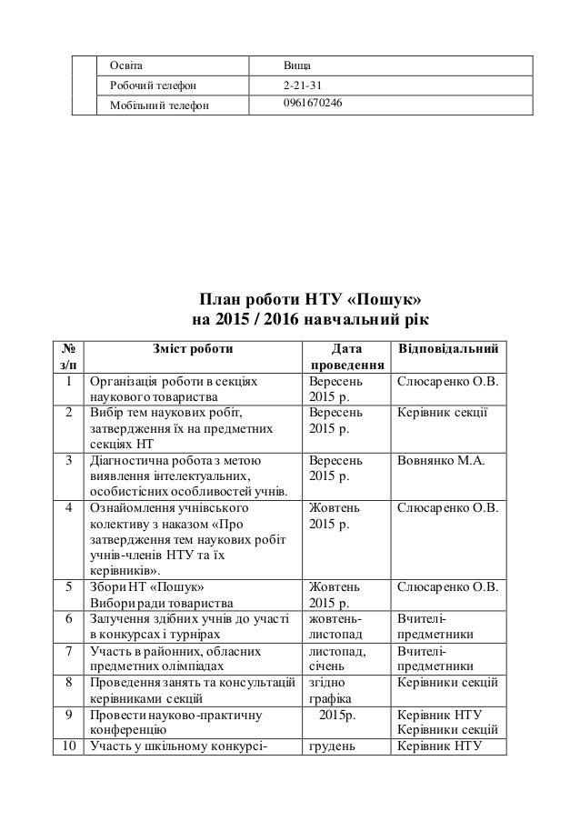 Освіта Вища Робочий телефон 2-21-31 Мобільний телефон 0961670246 План роботи НТУ «Пошук» на 2015 / 2016 навчальний рік № з...