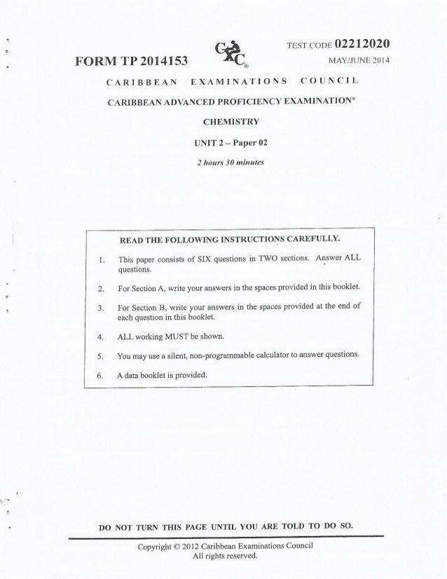 cape chemistry unit 1 Cxc a11/u2/06 caribbean examinations council caribbean advanced proficiency examination cape ® chemistry syllabus unit 1 - effective for examinations from may/june 2007.