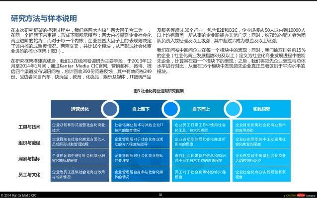 © 2014 Kantar Media CIC  在本次研究框架的搭建过程中,我们将四大内核与四大因子合二为一, 在同一个框架下来审视,形成下图所示模型:四大内核贯穿企业社会化 商业进阶的始终;而对于每一个内核,企业在四大因子上的表现则决定 了...