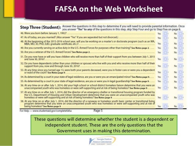 2014 2015 financial aid presentation pdf – Fafsa on the Web Worksheet