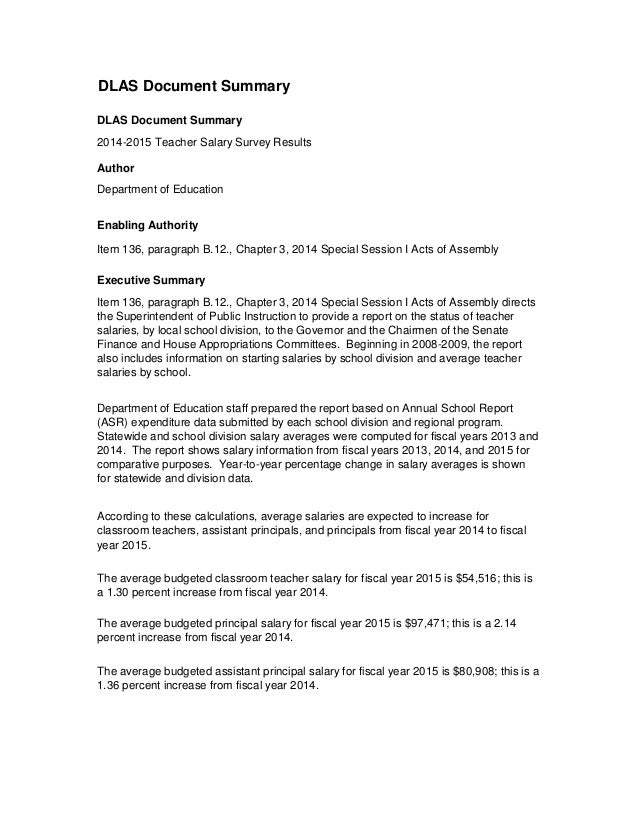 DLAS Document Summary DLAS Document Summary 2014-2015 Teacher Salary Survey Results Author Department of Education Enablin...