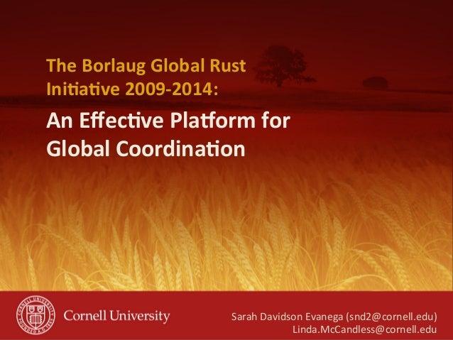 An  Effec(ve  Pla-orm  for   Global  Coordina(on   The  Borlaug  Global  Rust   Ini(a(ve  2009-‐2014...