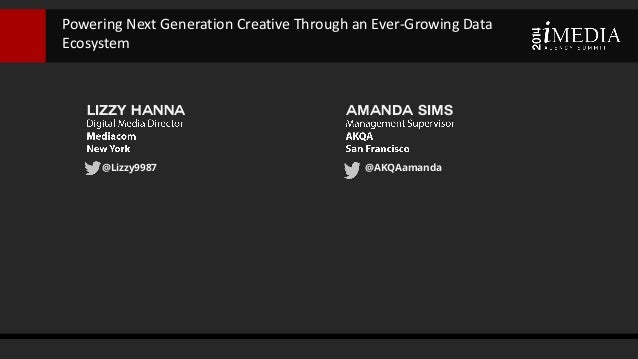 Lizzy Hanna @Lizzy9987 Powering Next Generation Creative Through an Ever-Growing Data Ecosystem Amanda Sims @AKQAamanda