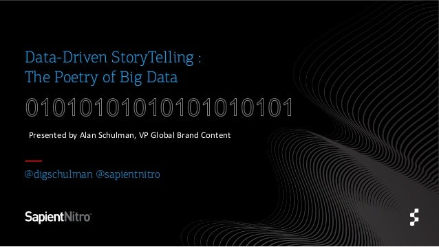 Data-Driven StoryTelling : The Poetry of Big Data Presented	   by	   Alan	   Schulman,	   VP	   Global	   Brand	   Content...