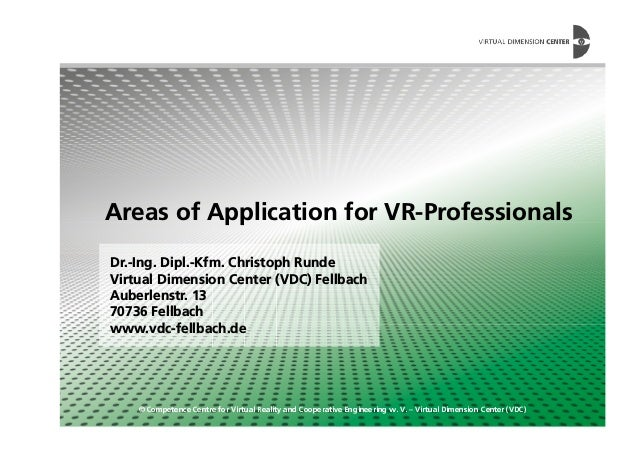 Areas of Application for VR-Professionals © Competence Centre for Virtual Reality and Cooperative Engineering w. V. – Virt...