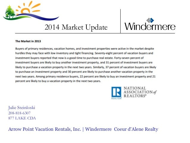 2014 Market Update  Julie Steinloski 208-818-6307 877 LAKE CDA  Arrow Point Vacation Rentals, Inc. | Windermere Coeur d'Al...
