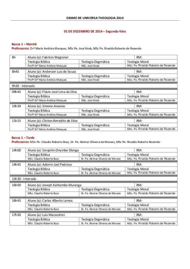 EXAME DE UNIVERSA THEOLOGIA 2014  01 DE DEZEMBRO DE 2014 – Segunda-feira  Banca 1 – Manhã  Professores: Drª Maria Antônia ...