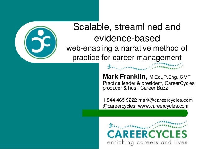 Scalable, streamlined and evidence-based web-enabling a narrative method of practice for career management Mark Franklin, ...