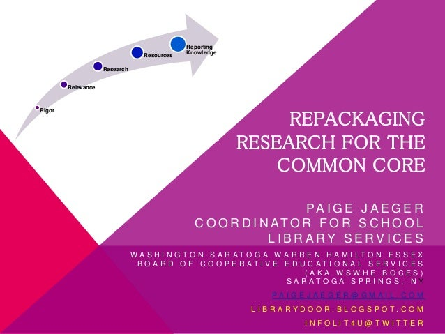 Rigor Relevance Research Resources Reporting Knowledge REPACKAGING RESEARCH FOR THE COMMON CORE PA I G E J A E G E R C O O...